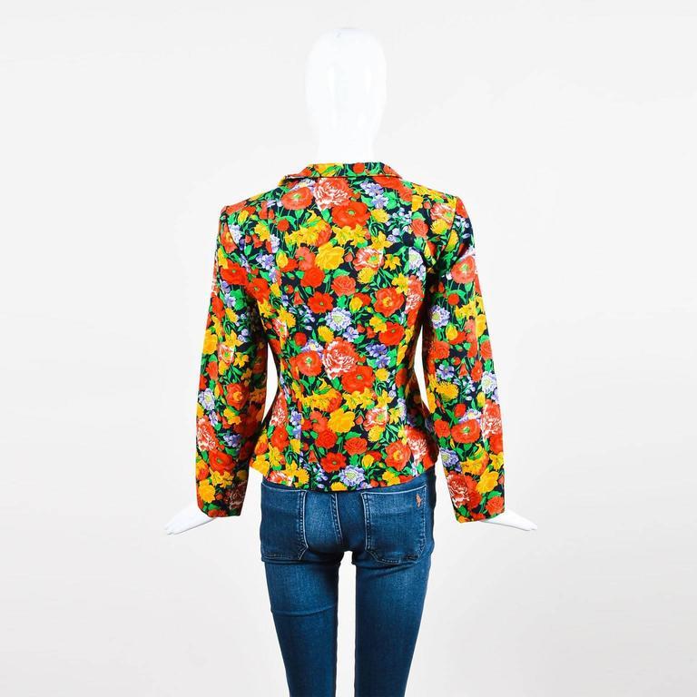 Vintage Yves Saint Laurent Multicolor Fitted Floral Print Blazer SZ 40 3