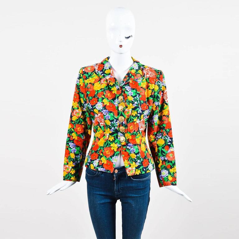 Vintage Yves Saint Laurent Multicolor Fitted Floral Print Blazer SZ 40 2