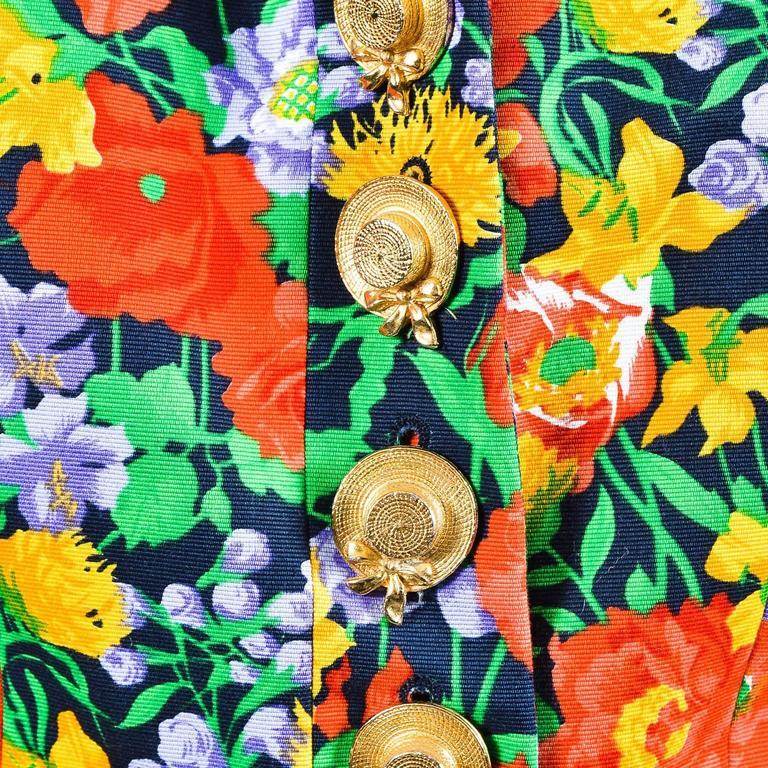 Vintage Yves Saint Laurent Multicolor Fitted Floral Print Blazer SZ 40 5
