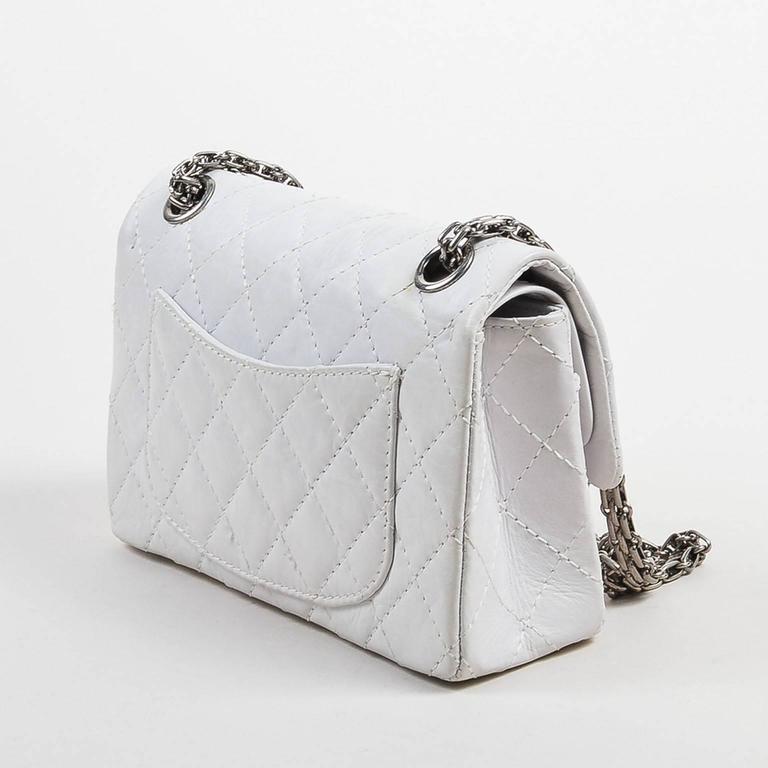 "Chanel White Aged Calf Skin ""New Mini"" 2.55 2005 Limited Ed Reissue Flap Bag 2"