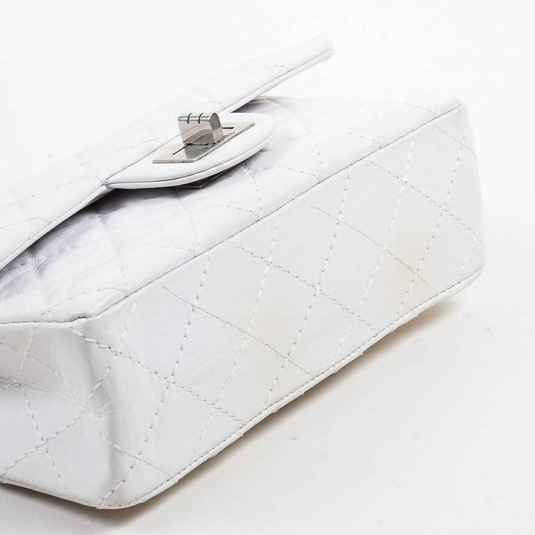 "Chanel White Aged Calf Skin ""New Mini"" 2.55 2005 Limited Ed Reissue Flap Bag 3"
