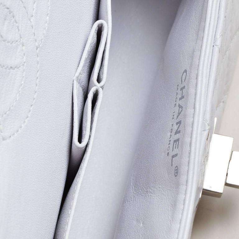"Chanel White Aged Calf Skin ""New Mini"" 2.55 2005 Limited Ed Reissue Flap Bag 5"