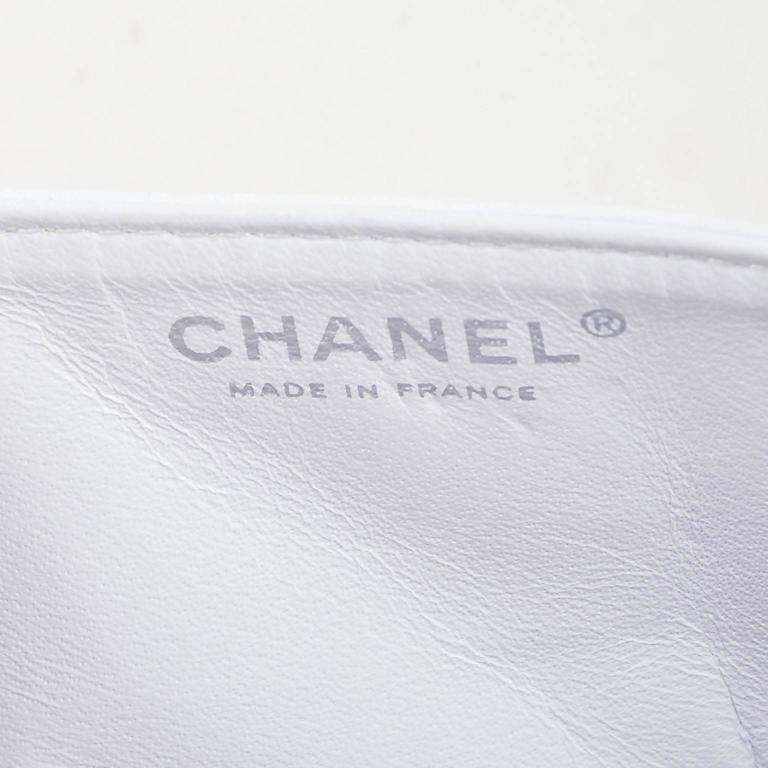 "Chanel White Aged Calf Skin ""New Mini"" 2.55 2005 Limited Ed Reissue Flap Bag 8"