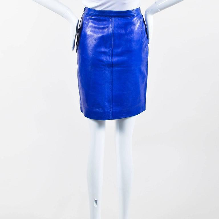 Vintage Saint Laurent Royal Blue Leather Pencil Skirt SZ 44 3