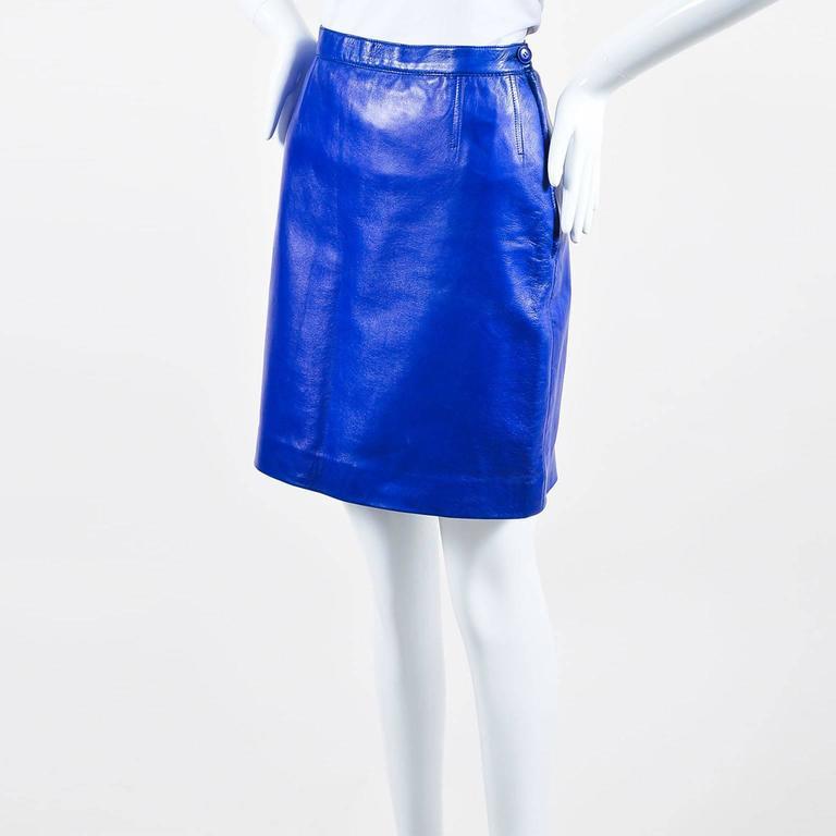 Vintage Saint Laurent Royal Blue Leather Pencil Skirt SZ 44 2