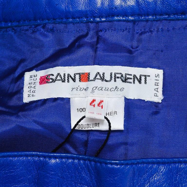 Vintage Saint Laurent Royal Blue Leather Pencil Skirt SZ 44 4