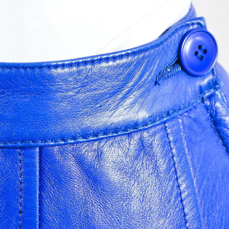 Vintage Saint Laurent Royal Blue Leather Pencil Skirt SZ 44 5