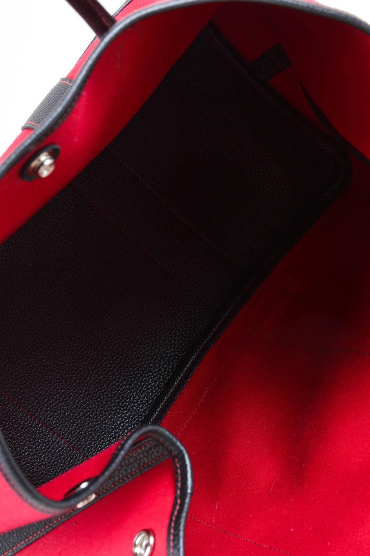 "ostrich birkin bag - Hermes Red Black Canvas Negonda Leather ""Garden Party GM"" Tote Bag ..."