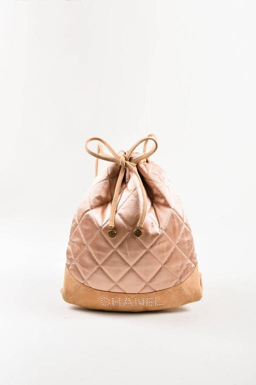 Chanel Blush Pink Suede Satin Quilted Faux Pearl Drawstring Backpack Bag 2