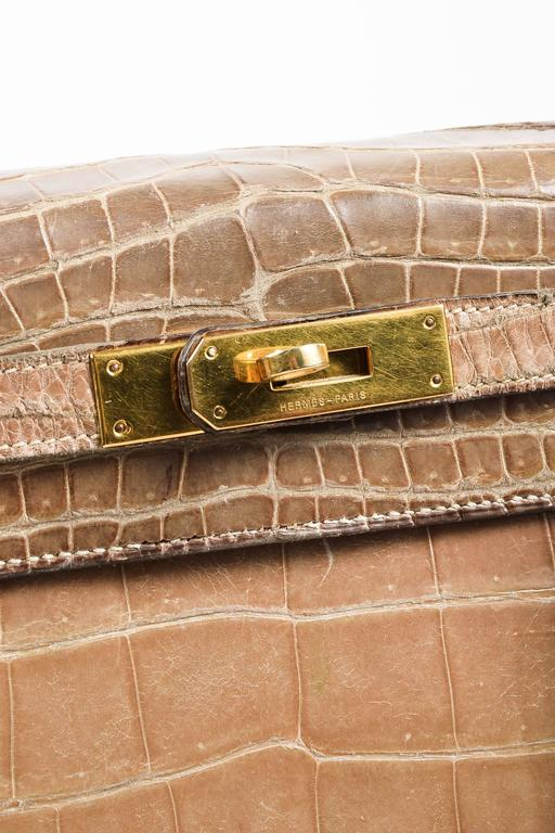 "Vintage Hermes Taupe Crocodile Leather Gold Hardware ""Kelly 28"" Handbag 7"