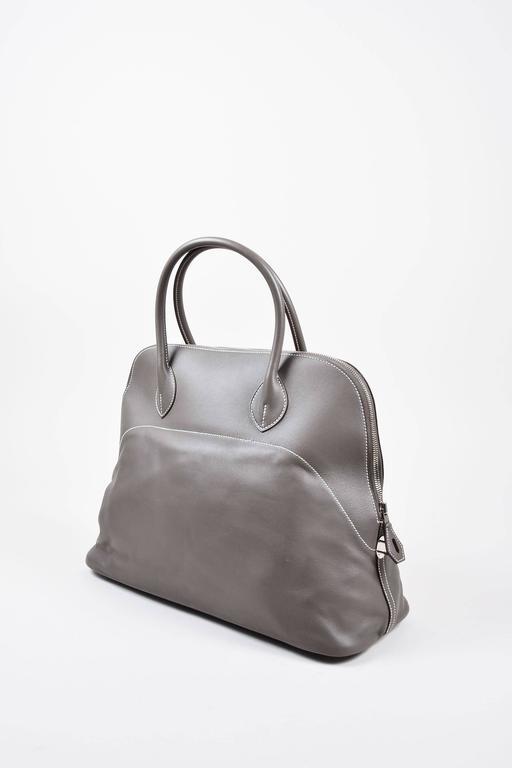 "Hermes 'Vert de Gris' Gray Barenia Leather ""Relax Bolide"" 40cm Tote Bag 2"