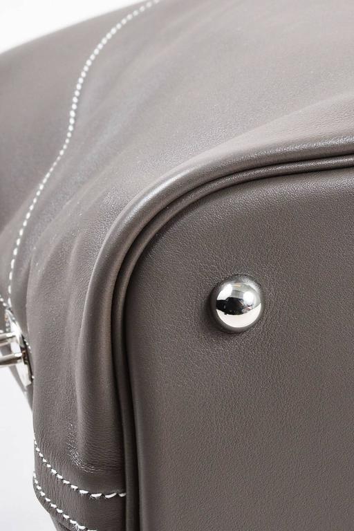 "Hermes 'Vert de Gris' Gray Barenia Leather ""Relax Bolide"" 40cm Tote Bag 4"