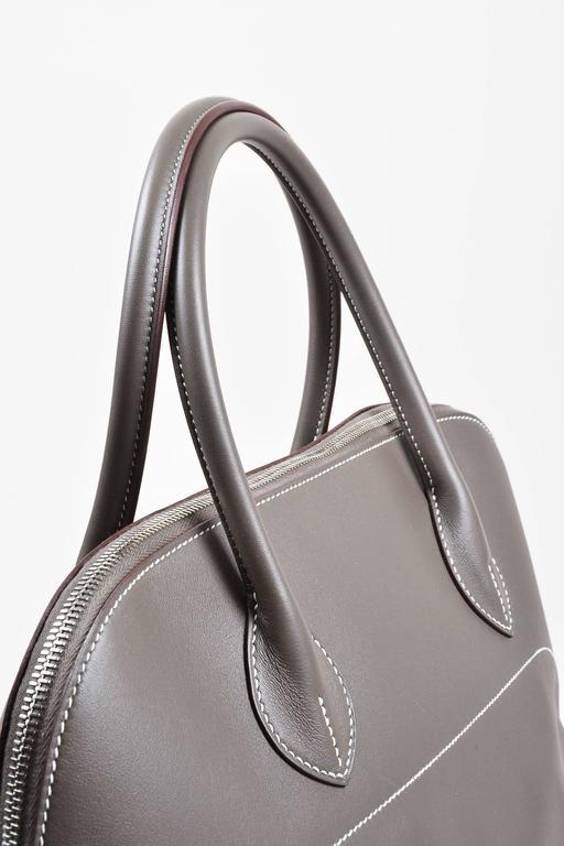 "Hermes 'Vert de Gris' Gray Barenia Leather ""Relax Bolide"" 40cm Tote Bag 5"