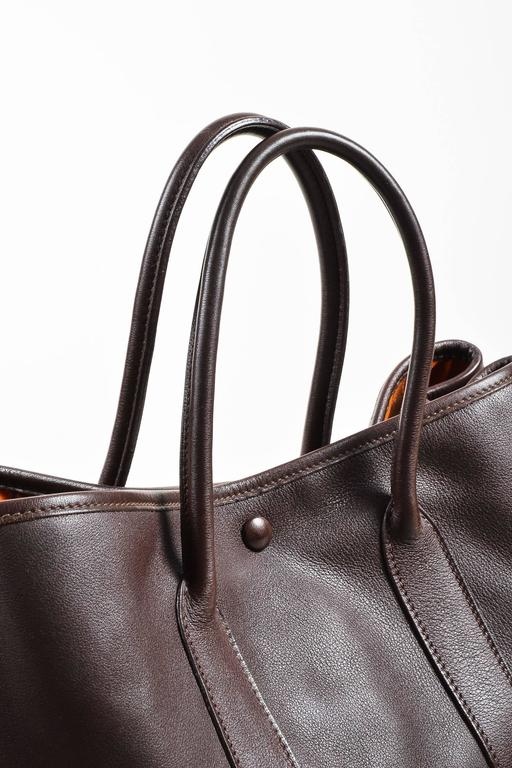 """Hermes Brown Swift Leather """"Bolduc Twilly"""" Lining """"Garden Party TPM"""" Tote Bag 3"""