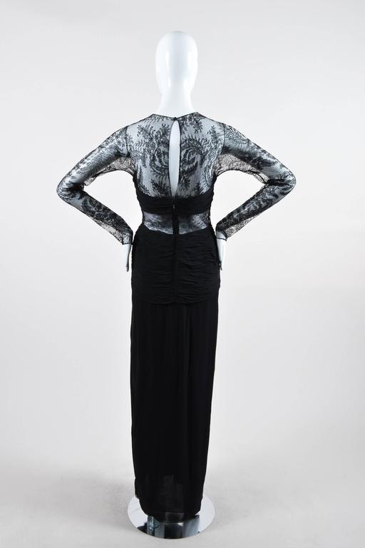 Oscar de la Renta Black Floral Lace Sheer Sleeve Cut Out Gown SZ 8 3