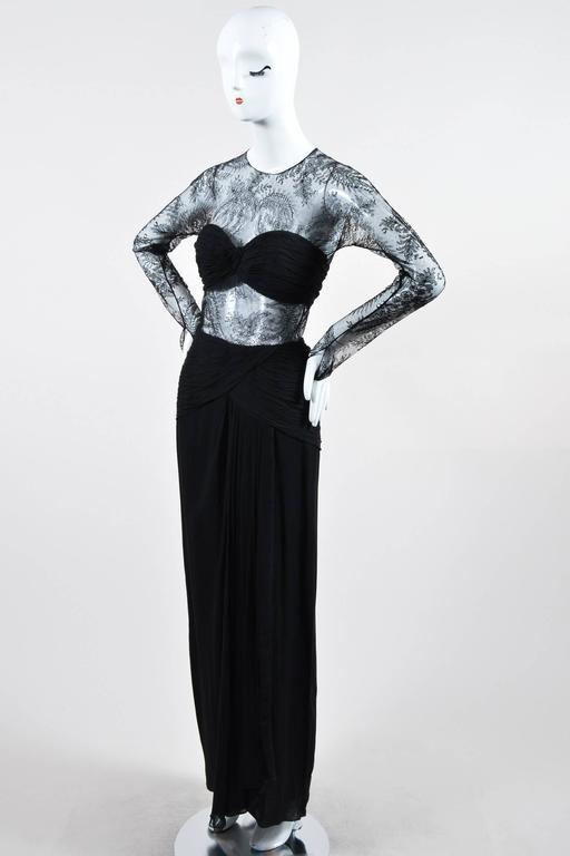 Oscar de la Renta Black Floral Lace Sheer Sleeve Cut Out Gown SZ 8 2