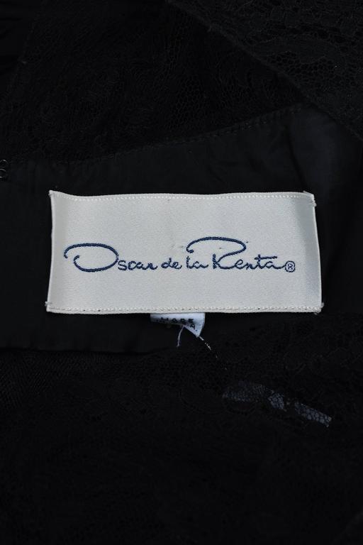Oscar de la Renta Black Floral Lace Sheer Sleeve Cut Out Gown SZ 8 4