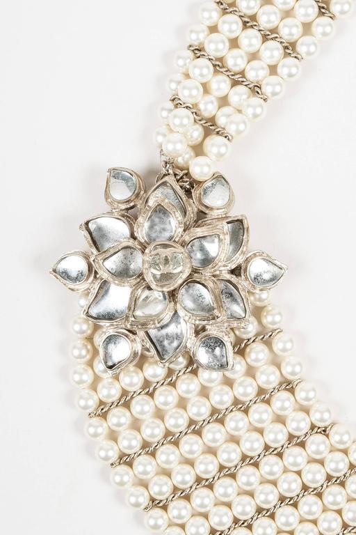 Chanel 12A Gold Tone Faux Pearl Glass Stone 'CC' Flower Pedant Bib Necklace 2