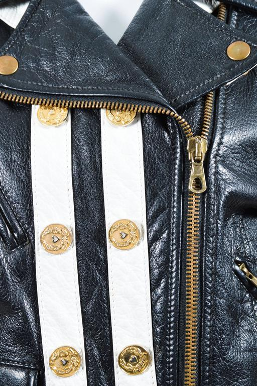 Moschino Cheap and Chic Black White Leather Striped Moto Jacket Sz 12 3