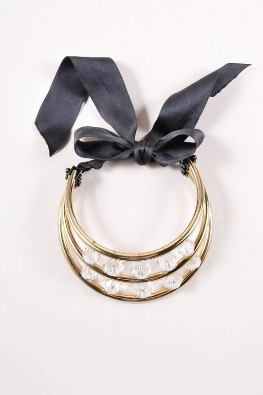 Lanvin Gold Tone Black Crystal Bead Ribbon Tie Statement Collar Necklace 2