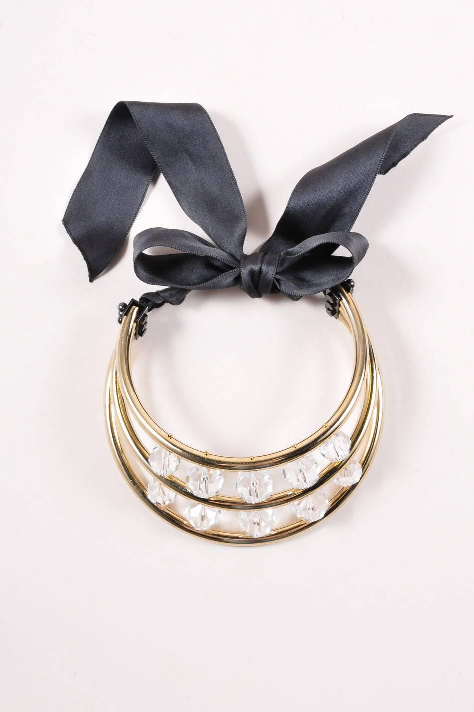 Lanvin gold tone black crystal bead ribbon tie statement for Ribbon tie necklace jewelry