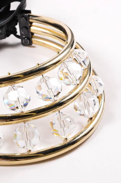 Lanvin Gold Tone Black Crystal Bead Ribbon Tie Statement Collar Necklace 3