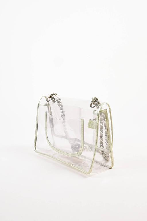 "Chanel Clear PVC Silver Tone Metallic Chain Strap ""Naked"" Flap Bag 2"