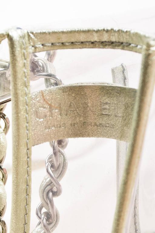 "Chanel Clear PVC Silver Tone Metallic Chain Strap ""Naked"" Flap Bag 7"