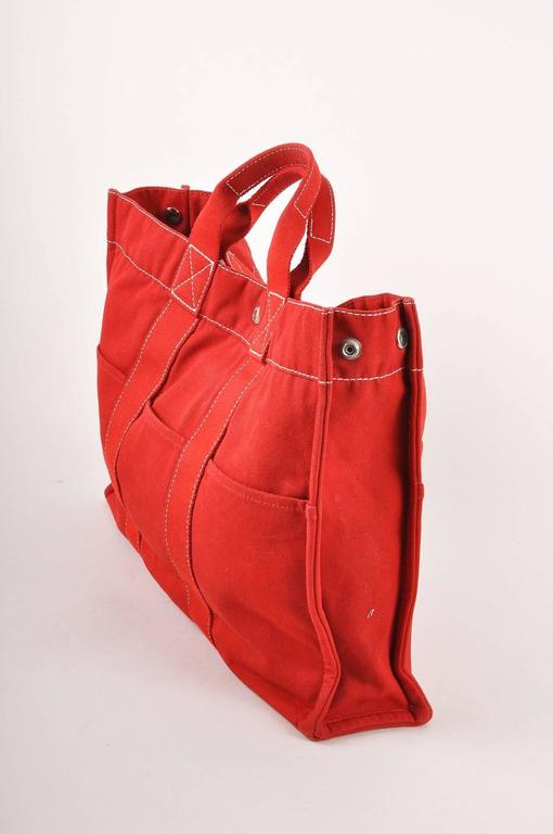 Hermes Red Canvas Beach Tote Bag 3