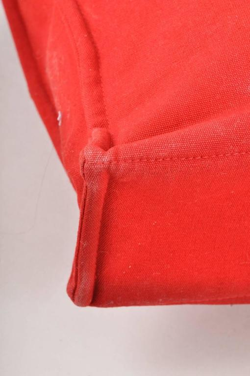 Hermes Red Canvas Beach Tote Bag 5