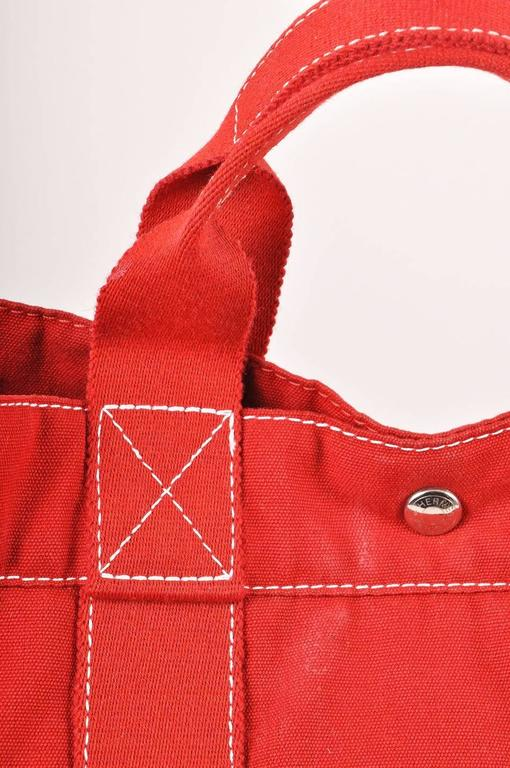 Hermes Red Canvas Beach Tote Bag 2