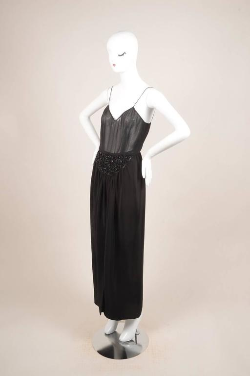 Vintage Oscar de la Renta Black Silk Beaded Sheer Sleeveless Dress SZ 8 3