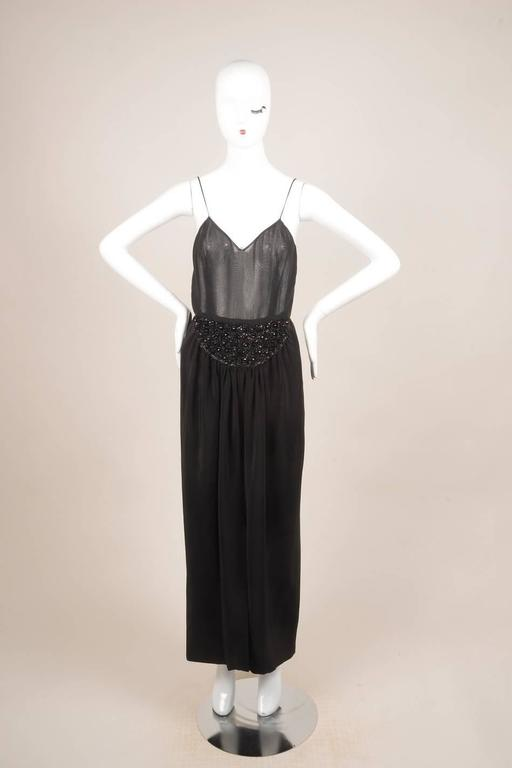 Vintage Oscar de la Renta Black Silk Beaded Sheer Sleeveless Dress SZ 8 2