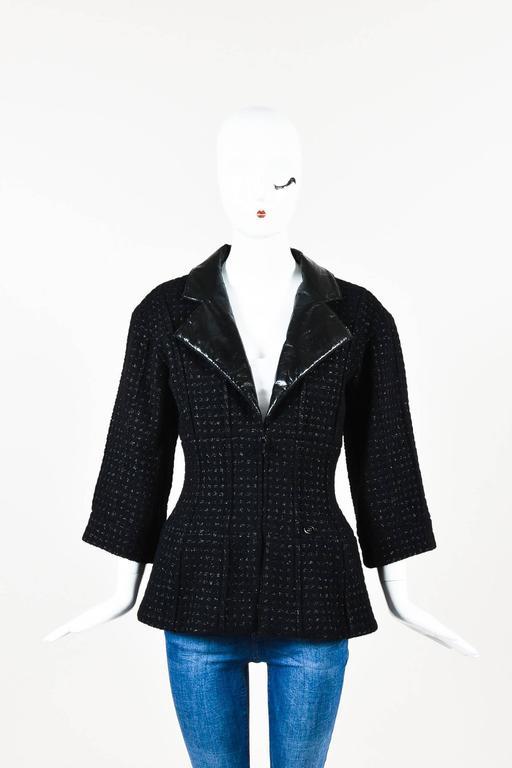 Chanel Black Wool Metallic Checkered Leather Collar Zip Crop Sleeve Jacket SZ 38 2