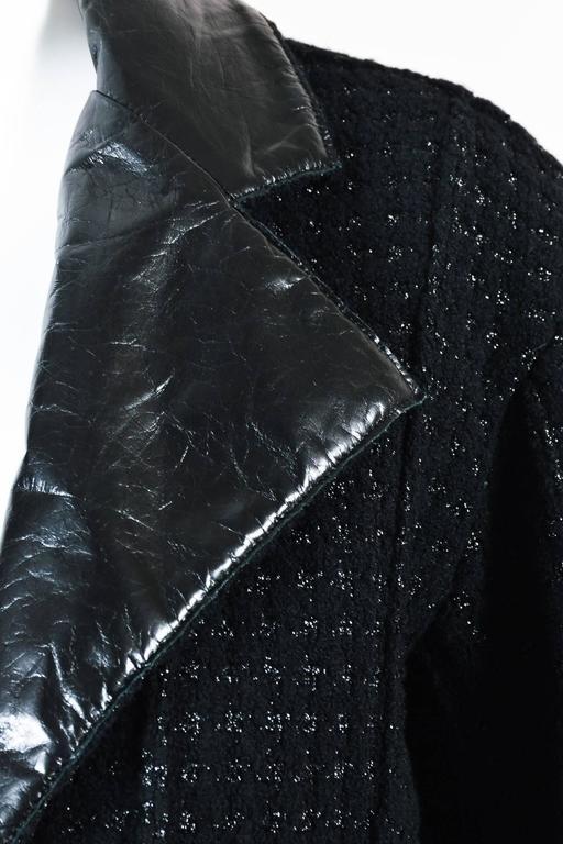 Chanel Black Wool Metallic Checkered Leather Collar Zip Crop Sleeve Jacket SZ 38 5