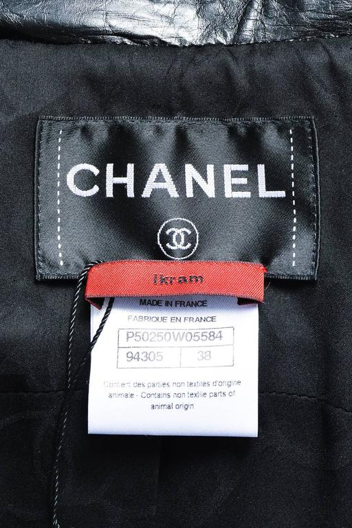 Chanel Black Wool Metallic Checkered Leather Collar Zip Crop Sleeve Jacket SZ 38 6