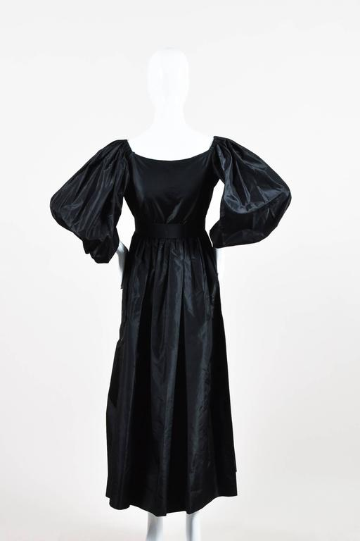 Vintage Oscar de la Renta Black Taffeta Puff Sleeve Button Front & Belted Dress 3