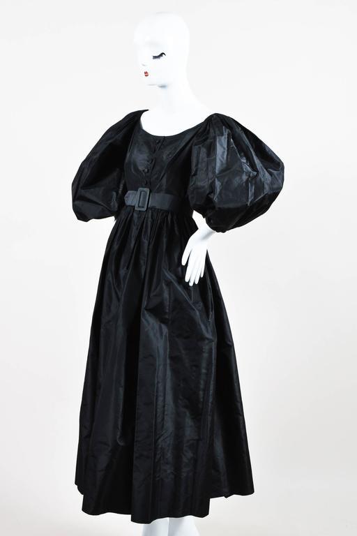 Vintage Oscar de la Renta Black Taffeta Puff Sleeve Button Front & Belted Dress 2
