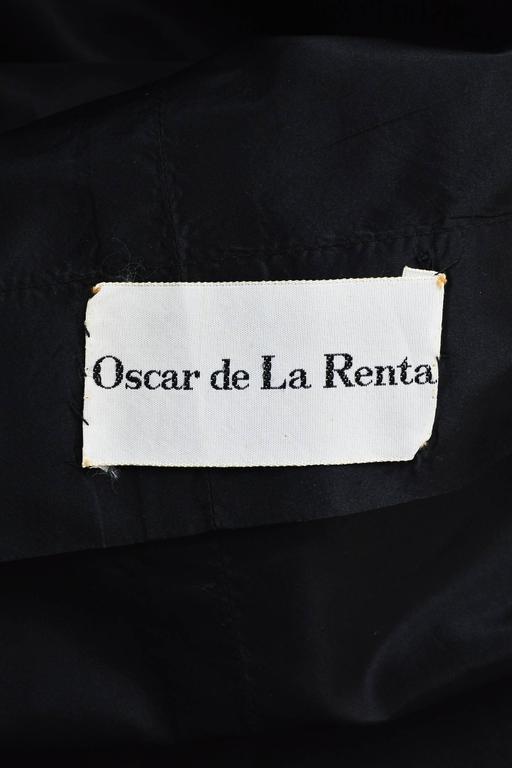 Vintage Oscar de la Renta Black Taffeta Puff Sleeve Button Front & Belted Dress 5