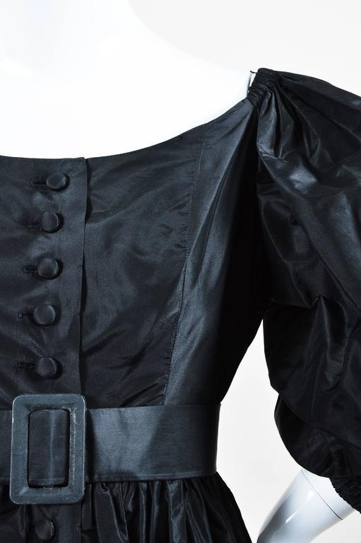 Vintage Oscar de la Renta Black Taffeta Puff Sleeve Button Front & Belted Dress 4