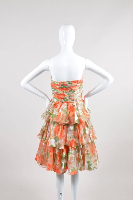 Vintage Oscar De La Renta Orange Green Floral Print Ruffle SL Dress SZ 10 3