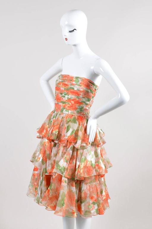 Vintage Oscar De La Renta Orange Green Floral Print Ruffle SL Dress SZ 10 2