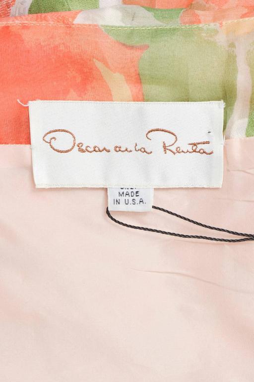 Vintage Oscar De La Renta Orange Green Floral Print Ruffle SL Dress SZ 10 5