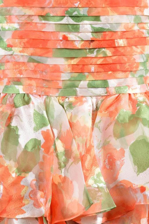 Vintage Oscar De La Renta Orange Green Floral Print Ruffle SL Dress SZ 10 4