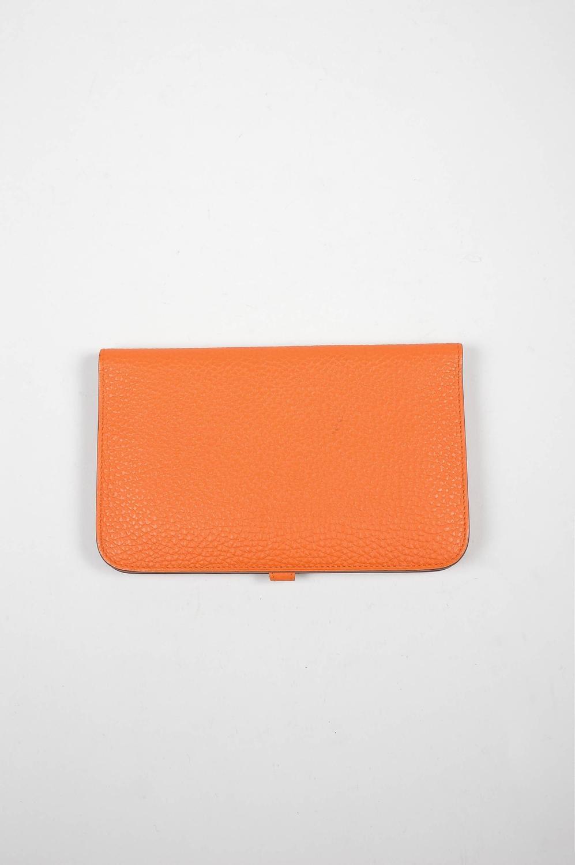"""hermes travel birkin - Hermes Togo """"Capucine Orange"""" Leather Dogon Combo Wallet For Sale ..."""