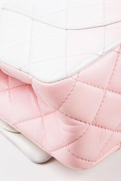 """Chanel Pink White Leather Ombre Degradé """"2.55 Reissue 227"""" Jumbo Handbag 5"""