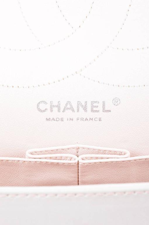 """Chanel Pink White Leather Ombre Degradé """"2.55 Reissue 227"""" Jumbo Handbag 8"""