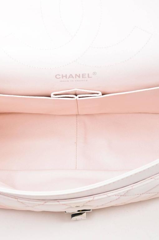 """Chanel Pink White Leather Ombre Degradé """"2.55 Reissue 227"""" Jumbo Handbag 6"""