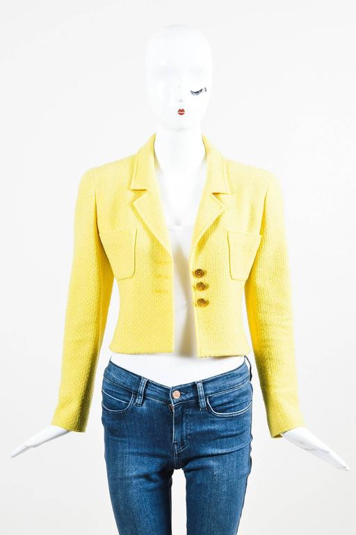 Vintage Chanel Boutique Yellow Tweed 'CC' Button Cropped Structured Jacket 2