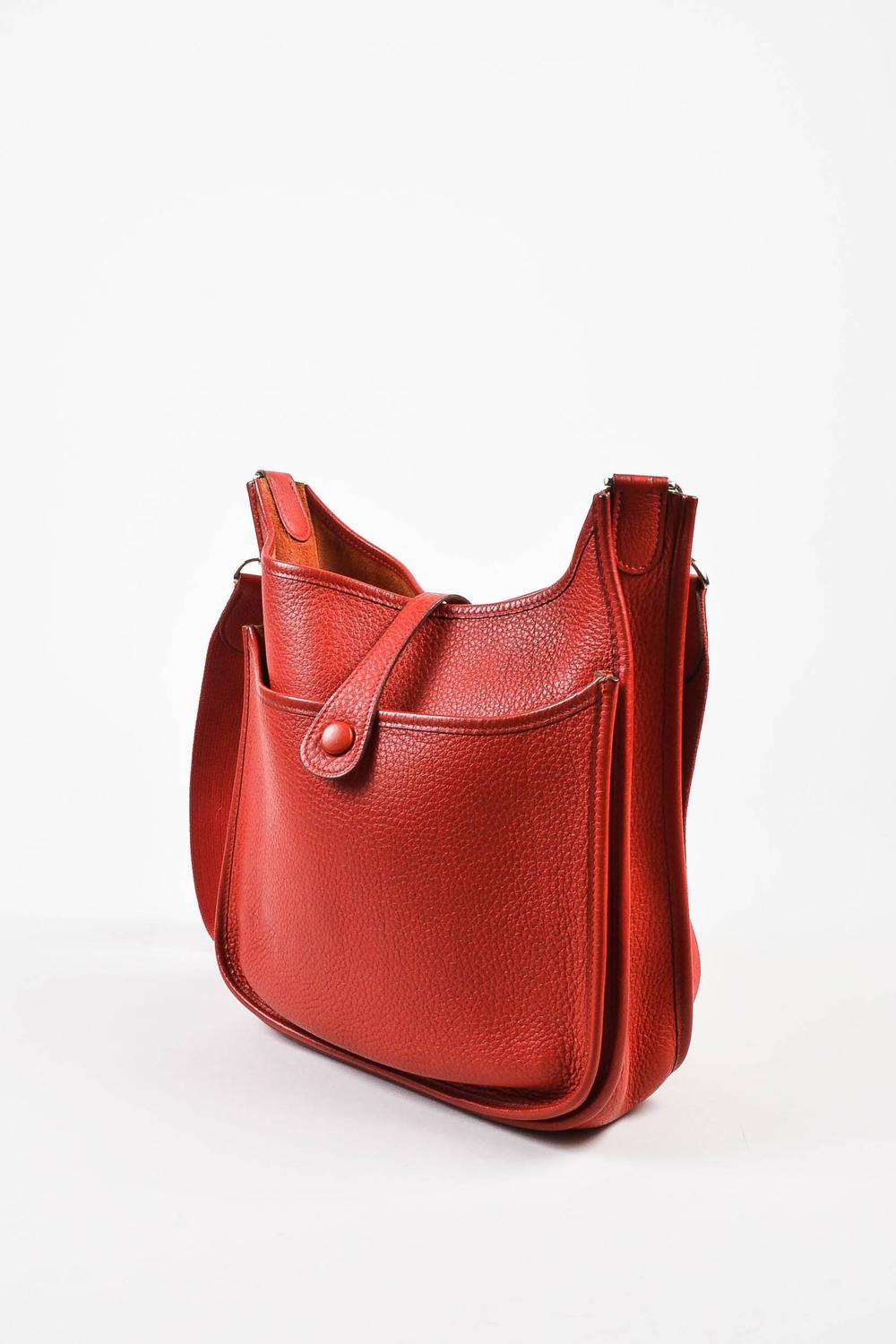 cheap hermes bags online - Hermes Red Clemence Leather Canvas Strap Evelyne II PM Shoulder ...